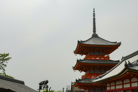 Kyoto, Japan, 30th, May, 2017. Rear view of pagoda. Kiyomizu-dera, formally Otowa-san Kiyomizu-dera, is an independent Buddhist temple in eastern Kyoto.