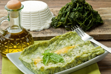 fresh lasagna with ricotta and spinach