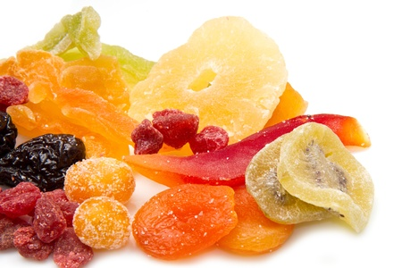 dried fruits on white background
