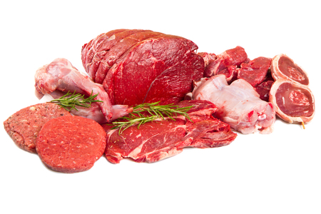 Raw meat mix isolated on white