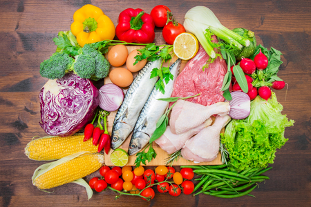 Foto de Mediterranean diet with fish,meat and vegetables - Imagen libre de derechos