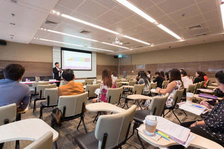 Bangkok, Thailand - October 15, 2015: Peoples participating the business training in conference room.