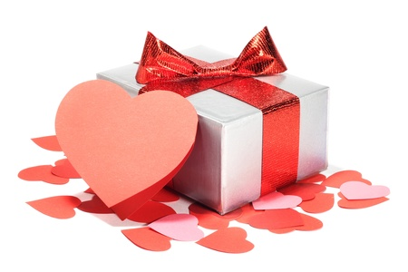 Valentines Day gift in silver box and greeting card isolated on white