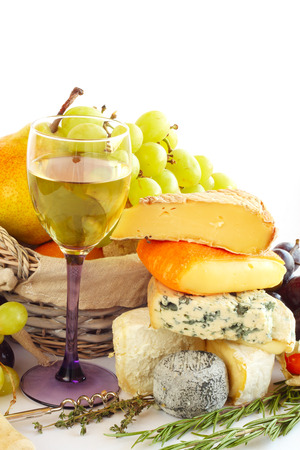 French Cheese, wine and fruits conceptual composition