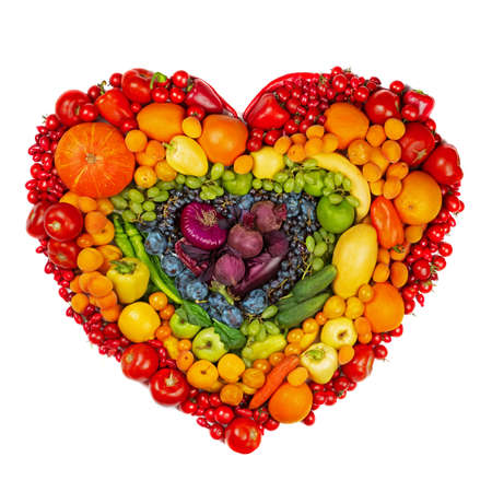 Photo for Rainbow heart of fruits and vegetables studio isolated on white background go vegetarian love healthy eating concept - Royalty Free Image