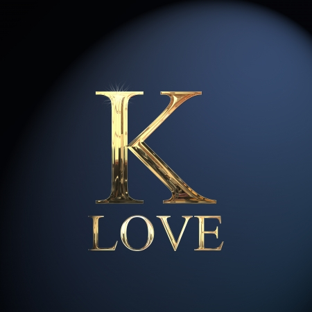Gold alphabet letter K word love on a blue background