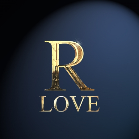 Gold alphabet letter R word love on a blue background