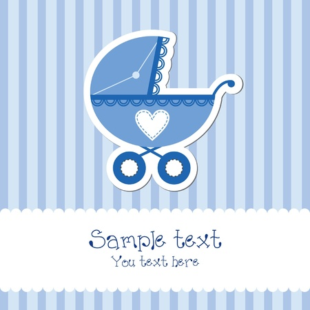 Baby boy card with carriage