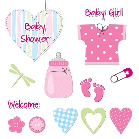 Illustration for Baby girl shower card - scrapbook design elements - Royalty Free Image