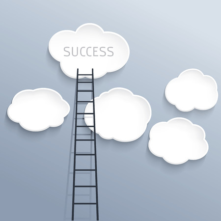 Success concept, clouds with ladder