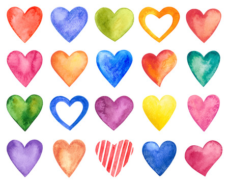 Vector watercolor hearts, Valentine Day.