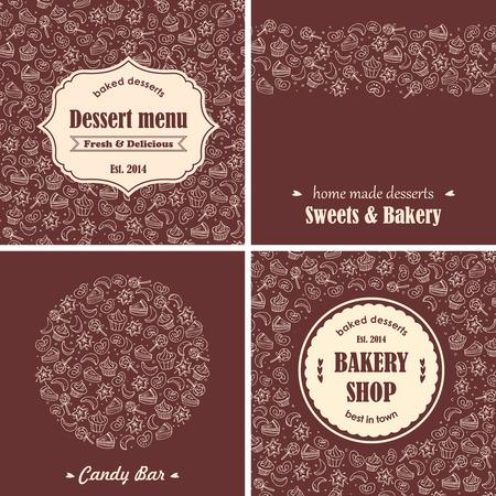 Bakery desserts background set