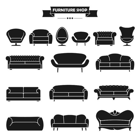 Luxury modern sofa and couch icons set. Vintage furniture collection.のイラスト素材