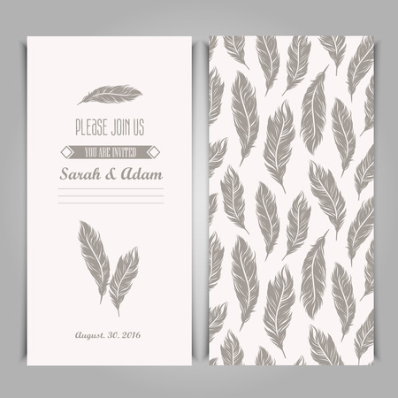 Elegant invitation vintage template with silver feathers symbols.