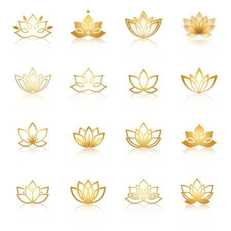 Ilustración de Golden Lotus symbol icons. Vector floral labels for Wellness industry. - Imagen libre de derechos