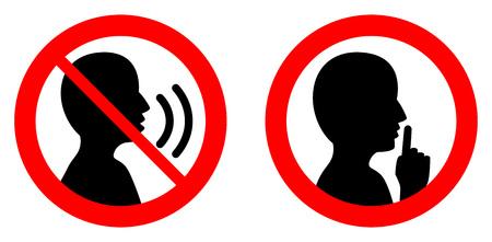 Illustration pour Keep quiet / silent please sign. Crossed person talking / Shhh icon in circle. - image libre de droit