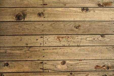 Photo pour Top down view - old wooden floor texture, tiles secured with nails. - image libre de droit