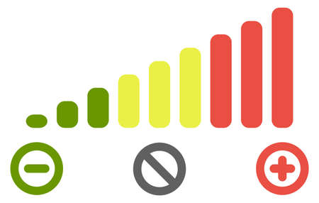 Illustration for Volume level bars scale icon. Green to red colours, with minus for decrease, plus for increase and crossed circle for mute signs. - Royalty Free Image