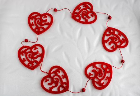 Photo for Valentine's day garland of red hearts isolated on white background.romantic - Royalty Free Image