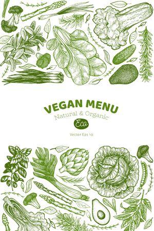 Green vegetable design template. Hand drawn vector food illustration. Engraved style vegetable banner. Vintage botanical banner.の素材 [FY310131906343]