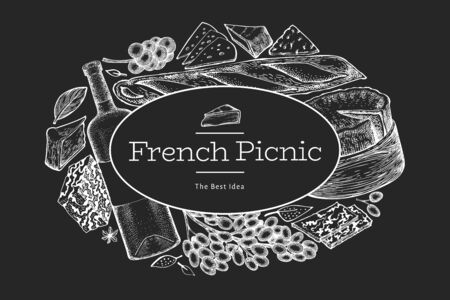 Illustration pour French food illustration design template. Hand drawn vector picnic meal illustrations on chalk board. Engraved style different snack and wine banner. Vintage food background. - image libre de droit