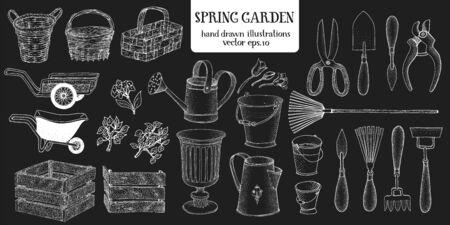 Illustration pour Hand drawn set of different gardening tools. Vector illustrations on chalk board. Garden utensils - image libre de droit