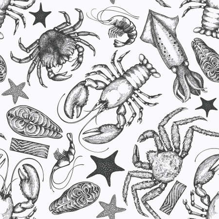 Illustration pour Seafood seamless pattern. Hand drawn vector seafood illustration. Engraved style food banner. Vintage sea animals background - image libre de droit