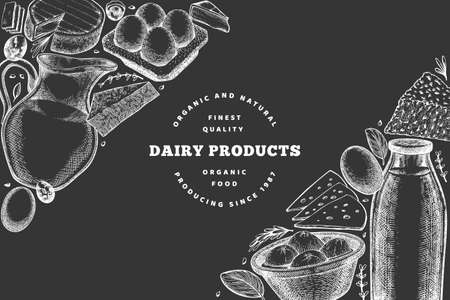 Illustration pour Farm food design template. Hand drawn vector dairy illustration on chalk board. Engraved style different milk products and eggs banner. Retro food background. - image libre de droit