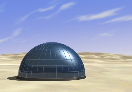 one dome in the middle of a desert (3d render)