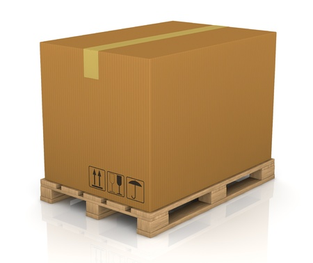 one pallet with a big carton box (3d render)
