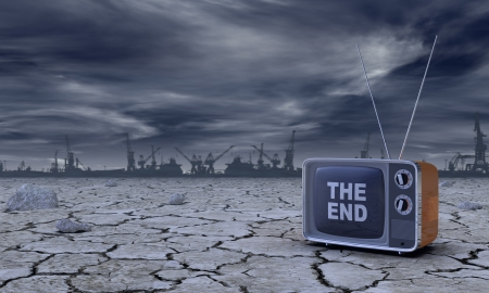 post-atomic atmosphere with a vintage television and the the text: the end, on the screen (3d render)