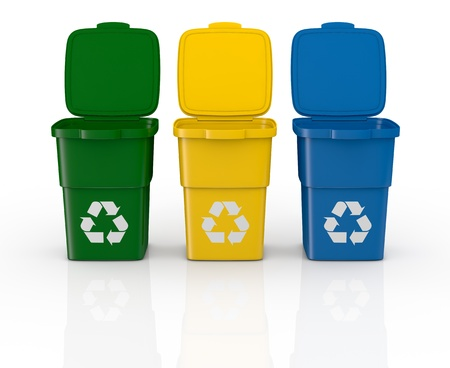 one row of three recycling bins open, in different colours (3d render)