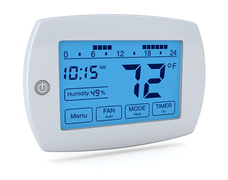 closeup of a digital, programmable thermostat (3d render)