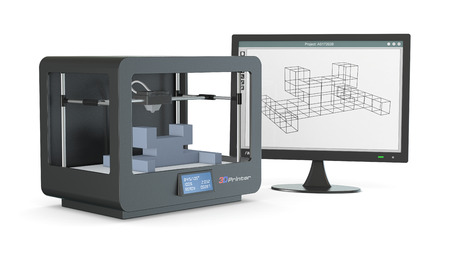 one 3d printer with a computer monitor with a cam software, and a prototype (3d render)