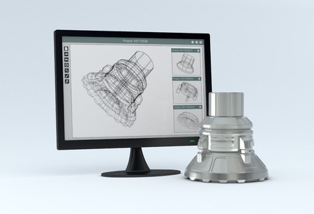 one computer monitor with a cam software and the finished product near it  3d render
