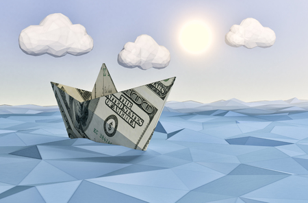 one paper boat made with dollar banknotes on a calm sea and a bright sun, concept of finance security, low-poly style (3d render)