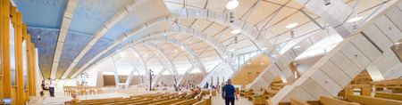 San Giovanni Rotondo, Italy, July 28 2016: The interior of the big moden church dedicated to Saint Padre Pio designed from the famous architect Renzo Piano