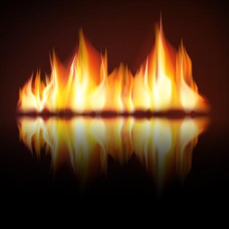 Illustration for Burning fire flame on black background - Royalty Free Image