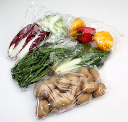 Photo for vegetables conserved in cellophane bags for food - Royalty Free Image