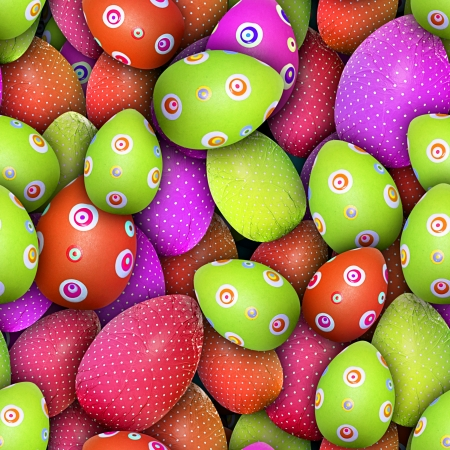 Easter theme: Dotted and circled Easter eggs (Seamless texture)