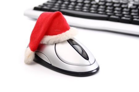 On-line Christmas shopping on white background