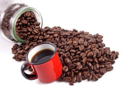 Photo of Coffee cup and beans