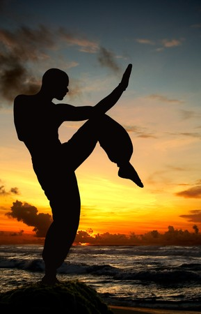 Martial art figure on the beach during sunset