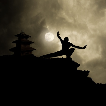 kung fu martial art background with text space