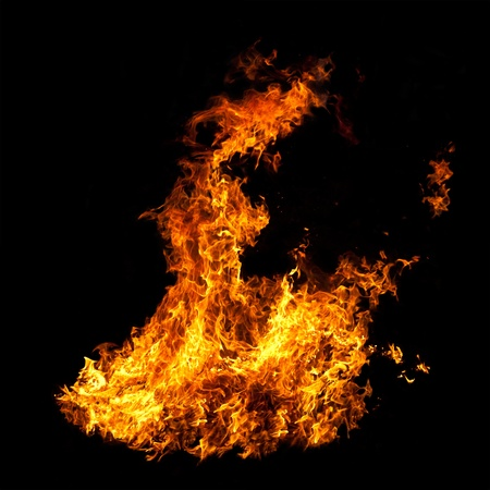 Raging Fire Flames on Black Photographic Background