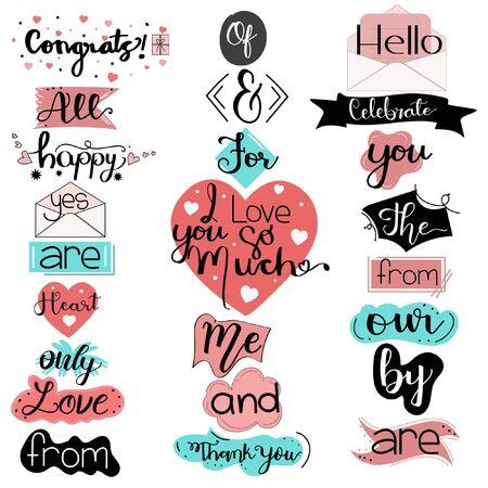 Illustration pour Catchwords Collection Romantic with Handwritten font. Illustration catchwords. I Love You. Engagement invitation card - image libre de droit