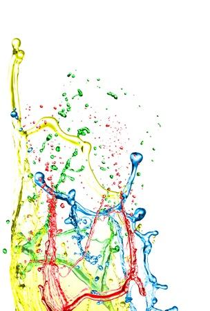 Color paint splashing on white