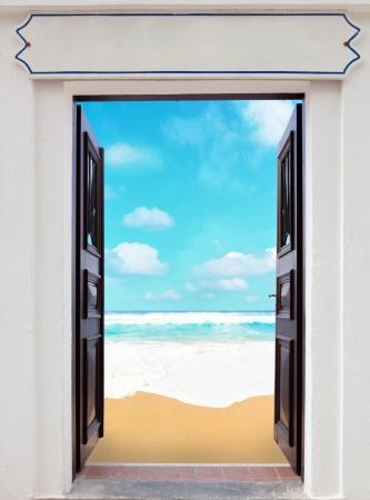 open doors and sea beach