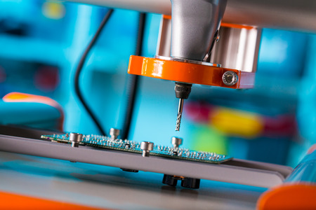 Photo for PCB Processing on CNC machine - Royalty Free Image