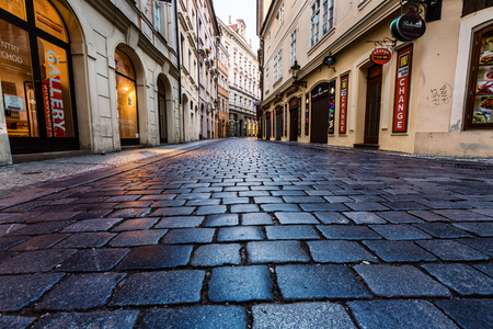 PRAGUE, CZECH REPUBLIC - SEPTEMBER 04, 2015: Night streets of Prague. Prague is the capital and largest city of the Czech Republic
